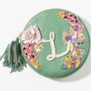 NWT Anthropologie Boho Embellished Pouch Green L